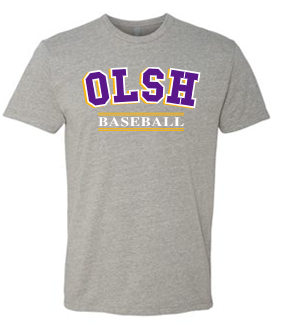 OLSH BASEBALL TRI-COLOR TODDLER, YOUTH & ADULT SHORT SLEEVE T-SHIRT
