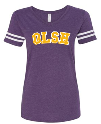 OLSH GIRLS &  WOMENS STRIPE SLEEVE FINE JERSEY TEE