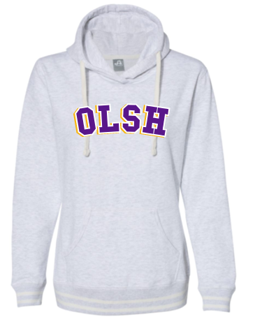 OLSH LADIES FIT STRIPE CUFF HOODED SWEASHIRT
