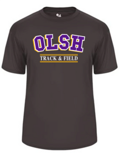 OLSH TRACK & FIELD YOUTH & ADULT PERFORMANCE SOFTLOCK SHORT SLEEVE TEE - PURPLE OR GRAPHITE