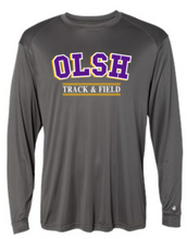 Load image into Gallery viewer, OLSH TRACK & FIELD YOUTH & ADULT PERFORMANCE SOFTLOCK LONG SLEEVE TEE - PURPLE OR GRAPHITE
