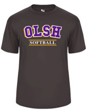 Load image into Gallery viewer, OLSH SOFTBALL YOUTH & ADULT PERFORMANCE SOFTLOCK SHORT SLEEVE TEE - PURPLE OR GRAPHITE