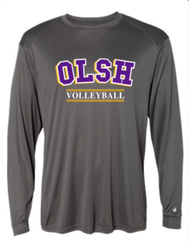 OLSH VOLLEYBALL YOUTH & ADULT PERFORMANCE SOFTLOCK LONG SLEEVE TEE - PURPLE OR GRAPHITE