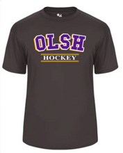 Load image into Gallery viewer, OLSH HOCKEY YOUTH & ADULT PERFORMANCE SOFTLOCK SHORT SLEEVE TEE - PURPLE OR GRAPHITE