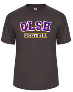 OLSH FOOTBALL YOUTH & ADULT PERFORMANCE SOFTLOCK SHORT SLEEVE TEE - PURPLE OR GRAPHITE