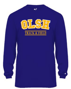 OLSH TRACK & FIELD YOUTH & ADULT PERFORMANCE SOFTLOCK LONG SLEEVE TEE - PURPLE OR GRAPHITE