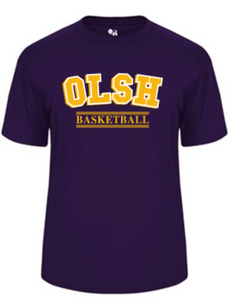 OLSH BASKETBALL YOUTH & ADULT PERFORMANCE SOFTLOCK SHORT SLEEVE TEE - PURPLE OR GRAPHITE