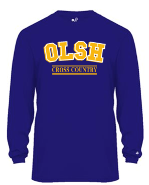 OLSH CROSS COUNTRY YOUTH & ADULT PERFORMANCE SOFTLOCK LONG SLEEVE TEE - PURPLE OR GRAPHITE