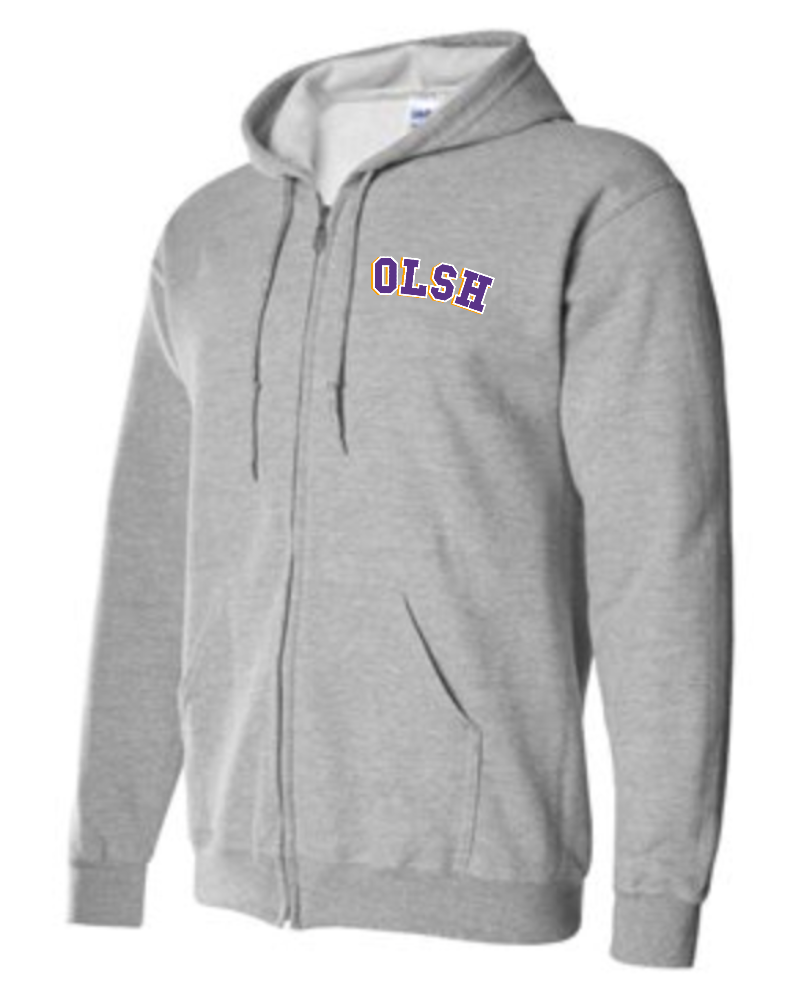 OLSH YOUTH & ADULT FULL ZIP HOODED SWEATSHIRT - SPORT GREY
