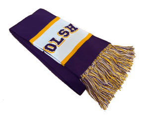 OLSH KNIT TRI-COLORED SCARF WITH FRINGE