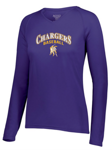 OLSH BASEBALL *FUNDRAISER* WOMEN'S PERFORMANCE V-NECK LONG SLEEVE TEE - PURPLE