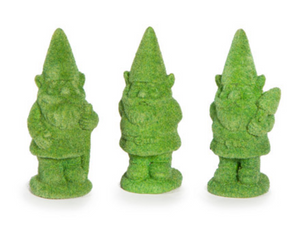 Fairy Garden Decorations: Mini Green Gnome Topiary Figurines, 3 pieces