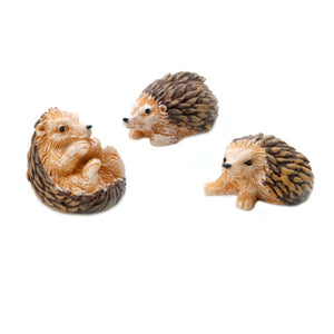 Yard and Garden Minis - Hedgehogs - Resin - 1.25 inches - 3 Pack