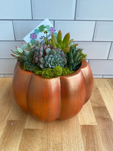 Copper and orange ceramic Pumpkin