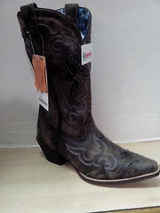 Cowgirl Boots Laredo Ladies Black & Tan Boot With  Snake Skin Underlay, Style # 52133