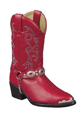 Cowgirl Boots DINGO Girl's Red  Cowboy Boots with Harness Strap Style # DIC2213