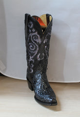 Cowgirl Boots FERRINI Ladies Embossed, Black and Silver Boots, Item #8186104060B
