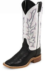 Cowgirl Boots JUSTIN Ladies Black Foot with White Shaft Boot Assorted Size, Item #BRL313