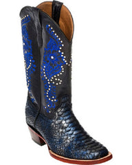 Cowgirl Boots FERRINI  Ladies Python Navy Print Square Toe 9387137090