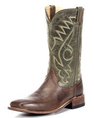 Cowboy Boots OLD WEST Brown and Green Square Toe Boots, item #BSM1845