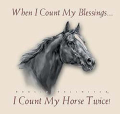 "T-Shirt Horses Unlimited  ""When I Count My Blessing"" Beige in Various Sizes"