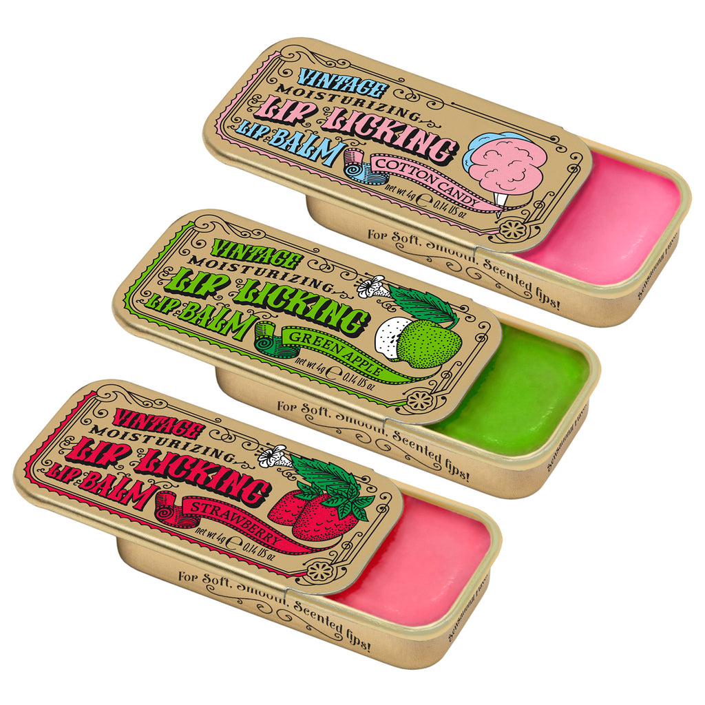 Candy Cane Lip Licking Lip Balm Kit: Strawberry, Green Apple & Cotton Candy