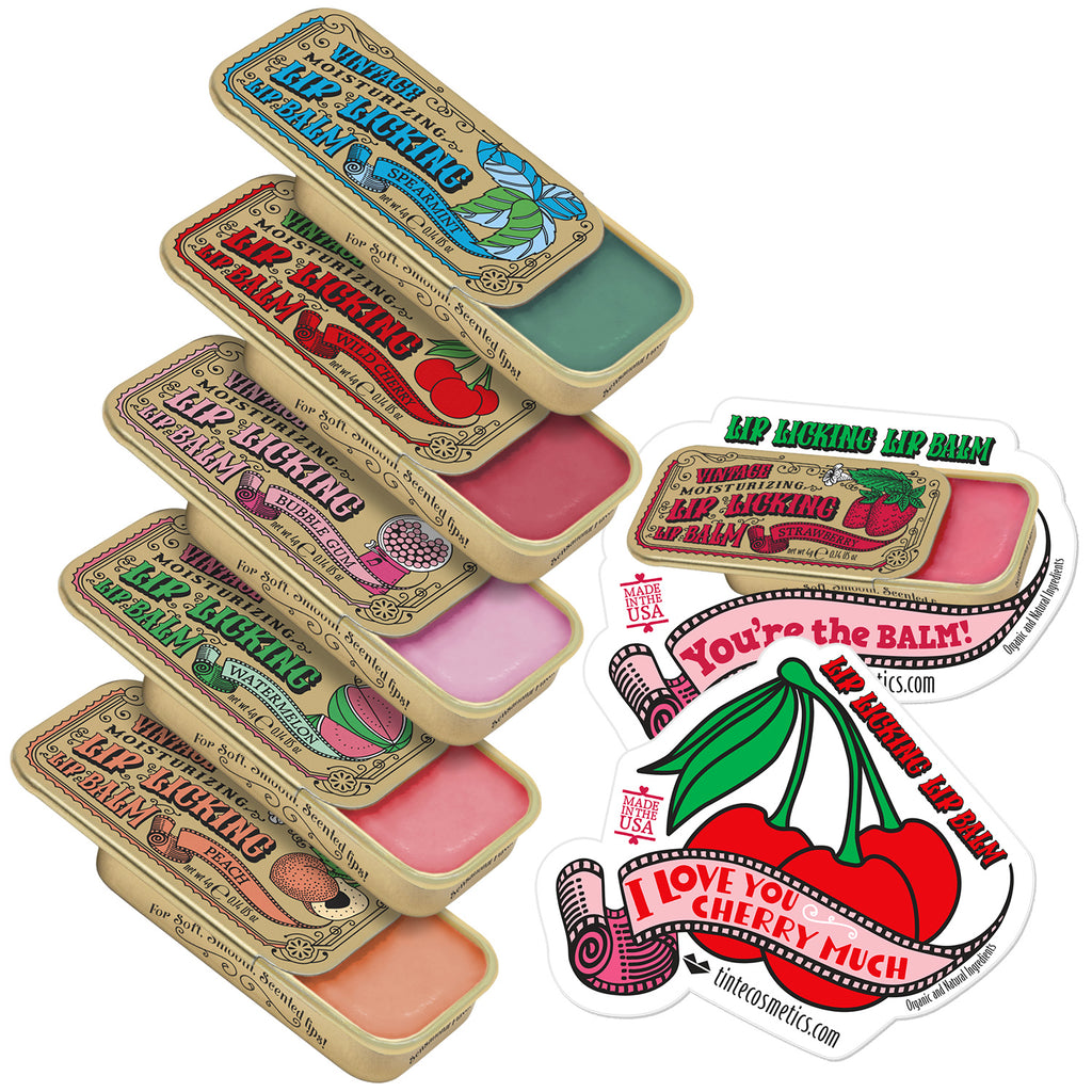 Lip Licking Lip Balm Kit (5 Pack): Peach, Watermelon, Bubble Gum, Wild Cherry & Spearmint