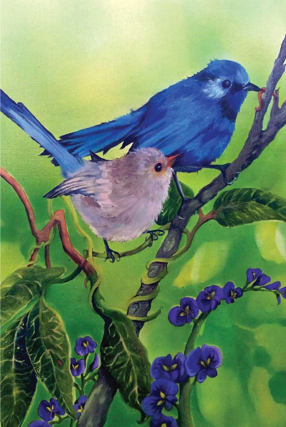 Greeting Card - Blue Wrens on Hovea