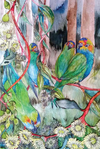 Greeting Card - Purple Crowned Lorikeets