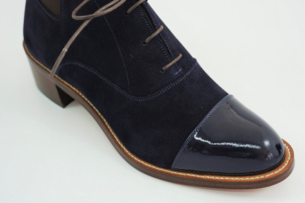 Load image into Gallery viewer, MIYAGIKOGYO FOR  WOMEN / MKFW-006 / レースアップサイドゴアブーツ / col,NAVY.SUEDE / 宮城興業㈱製