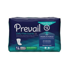 Bladder Control Pad Prevail® Daily Male Guards 12-1/2 Inch Length Moderate Absorbency Polymer One Size Fits Most Male Disposable