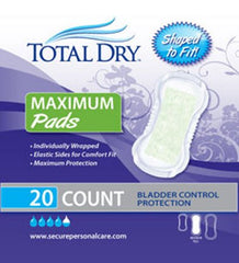 Bladder Control Pad TotalDry™ 13-3/4 Inch Length Moderate Absorbency Polymer Regular Female Disposable
