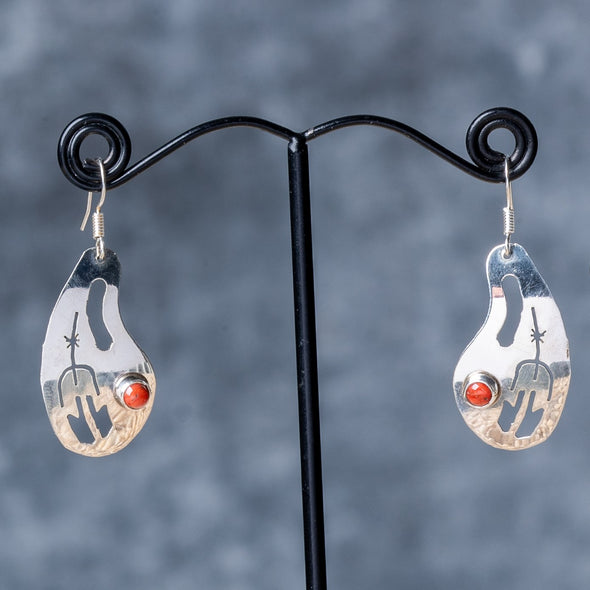 Navajo Design Fossil Coral Earrings