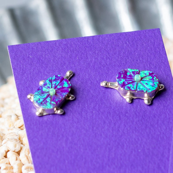 Navajo Opal Turtle Stud Earrings