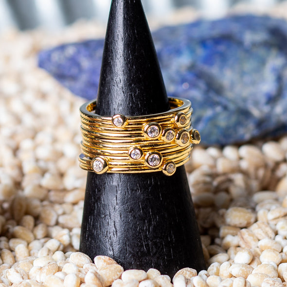 Multi-Banded Gold Vermeil Sparkle Rings