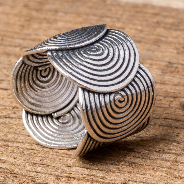 Hammered Spirals + Loops Rings