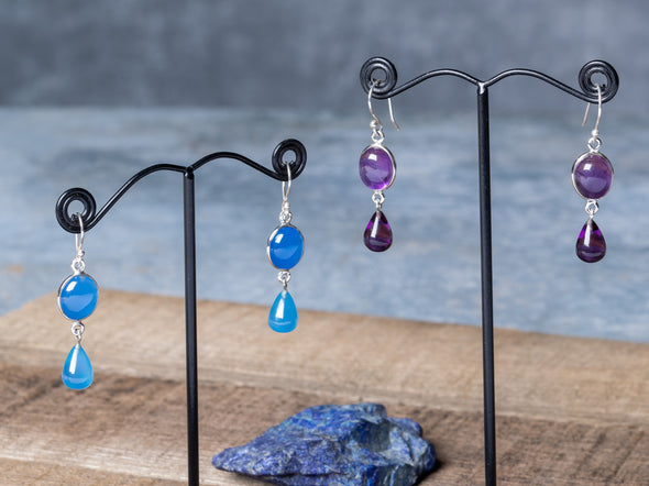 Oval + Teardrop Cabachon Earrings