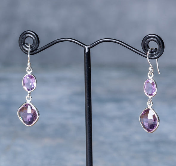 Sparkling Faceted Stone Earrings