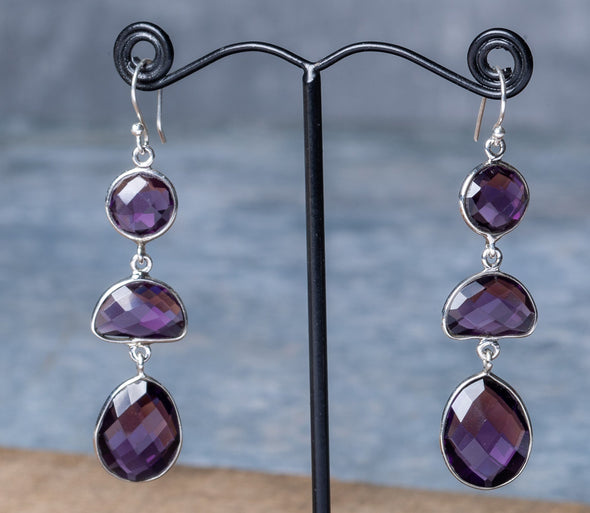 Large Amethyst Sparkle-Cut Earrings