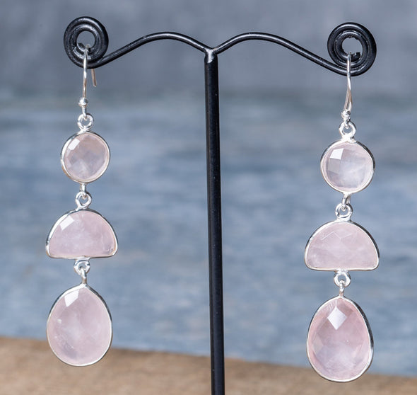 Large 3-Stone Sparkle-Cut Earrings