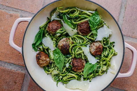 Meatballs and Pesto Zoodles