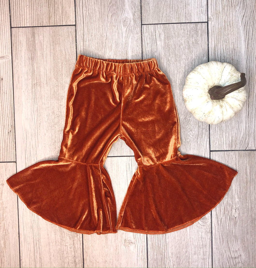 Mila Velvet Bell Bottoms - Orange