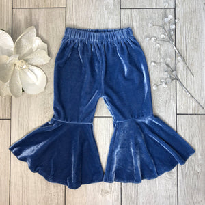 Mila Velvet Bell Bottoms - Ocean Blue