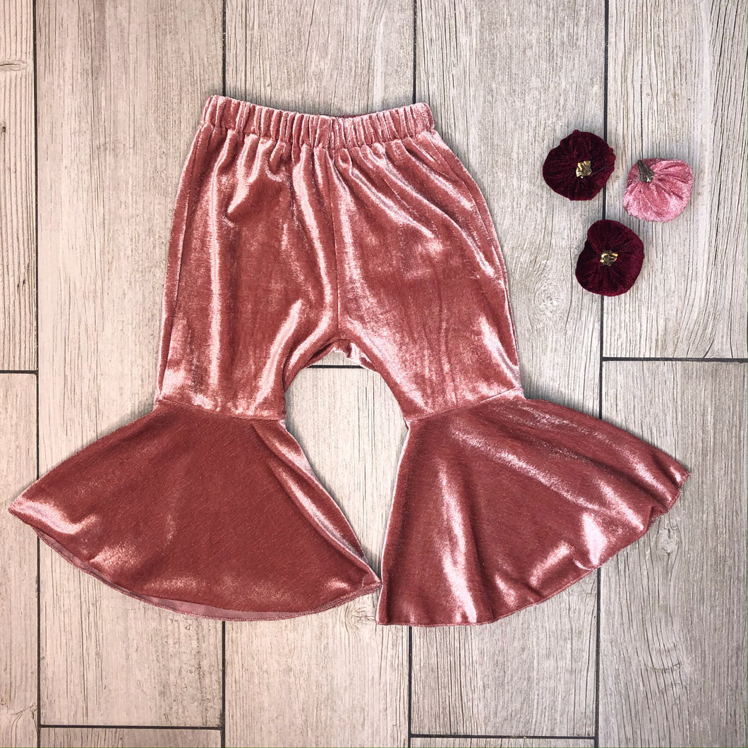 Mila Velvet Bell Bottoms - Rose Pink