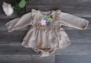 Briana Romper Dress Tan