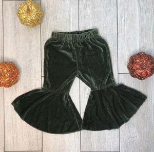 Mila Velvet Bell Bottoms - Olive Green