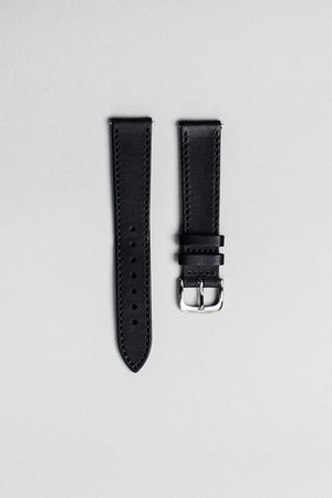 The black Italian veg tan strap with polished buckle. 18mm