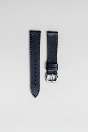 The blue veg tan Italian leather strap with brushed buckle. 18mm