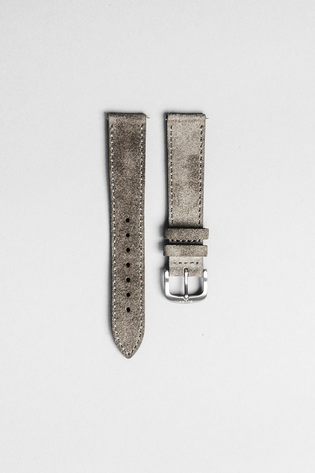 The grey Italian suede strap with brushed buckle. 18mm