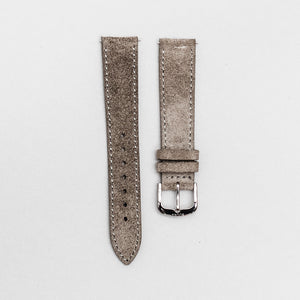 The grey Italian suede strap with polished buckle. 18mm